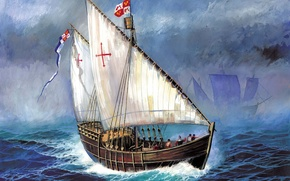 Картинка построен, орудия., входил, Санта-Клара, первой, Нинья, арт, флагманским, в 1475г, Христофора Колумба, второй, Санта-Марии, гибели, ...
