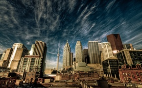 Картинка небо, облака, город, дома, канада, торонто