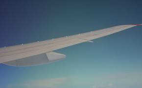 Картинка белый, небо, космос, облака, полет, синий, самолет, крыло, sky, flight, clouds, airplane, пассажирский, самолета, авиалайнер, …
