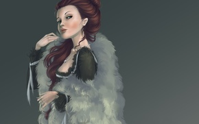 Картинка девушка, платье, арт, мех