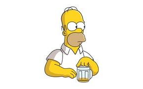 Картинка the simpsons, beer, look, pose, Homer, Homero