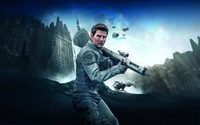 Обои Tom Cruise, The, Building, Oblivion, White, Plane, Jack, Sky, Skyscraper, Water, Weapons, Movie, Modern, Cloud, ...