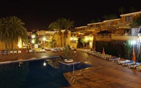 Картинка ночь, город, фото, бассейн, курорт, Испания, Канары, San Bartolome de Tirajana