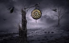 Картинка ночь, стиль, часы, вороны