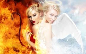 Обои angel, woman, girl, дьявол, девушка, женщина, devil, нгел