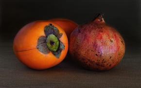 Обои макро, хурма, плод, гранат