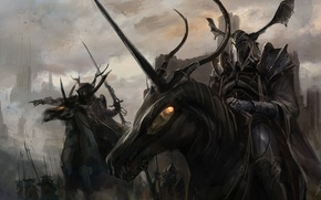 Картинка кони, доспехи, рога, Рыцари, горящие глаза