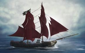 Картинка море, рендер, палуба, корабль, мачты