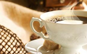 Картинка кофе, пар, чашка, сахар, кусочки, блюдце