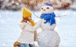 Обои новый год, зима, снег, снеговик
