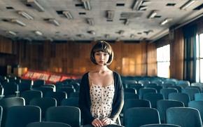 Картинка девушка, ретро, кинозал, Maxim Guselnikov, Карина Ким, Echoes Of USSR