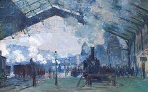 Обои Клод Моне, картина, Станция Сен-Лазар. Поезд Нормандия, жанровая