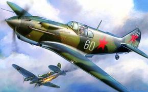Картинка огонь, война, истребитель, бомбардировщик, Лавочкин-Горбунов-Гудков, ЛаГГ-3, подбит, He 111, Heinkel