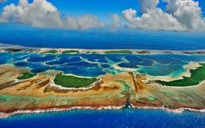 Картинка облака, природа, океан, Кирибати, атолл Каролайн, архипелаг Лайн
