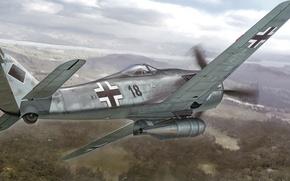 Картинка war, art, painting, aviation, ww2, Focker-Wulf Fw 190 F-8 'KG200'