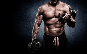 Обои muscle, man, gym, bodybuilder, barbell