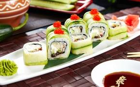 Картинка вегетарианский, соус, роллы, васаби, начинка, суши, огурец