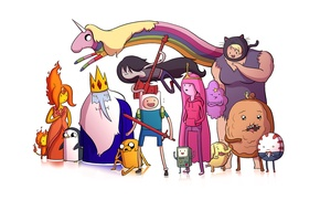 Обои lumpy space princess, jake the dog, princess bubblegum, flame princess, время приключений, adventure time, marceline, ...