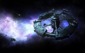 Обои вселенная, корабль, арт, sci-fi, фантастика, космос, звезды