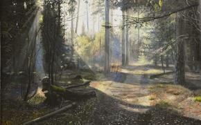 Картинка дорога, солнце, лучи, свет, деревья, пейзаж, сияние, картина, живопись, Луценко, утренний лес