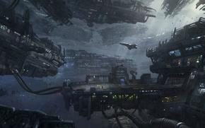 Картинка космос, корабли, станция, арт, Star Citizen