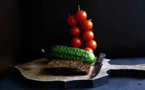 Картинка еда, огурец, хлеб, нож, помидоры