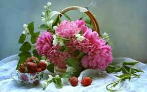 Картинка букет, стрекоза, ягоды, натюрморт, пионы, жасмин, корзина, клубника