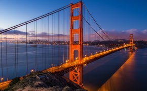 Картинка город, огни, Мост, выдержка, Калифорния, Сан-Франциско, Золотые ворота, USA, США, Golden Gate Bridge, Сан Франциско, …