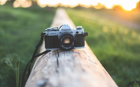 Картинка закат, камера, фотоаппарат, объектив, canon