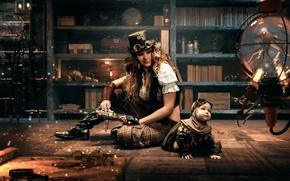Картинка девушка, комната, семья, стимпанк, steampunk