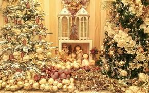 Картинка шарики, украшения, игрушки, декорации, мишура, ёлки, шишки