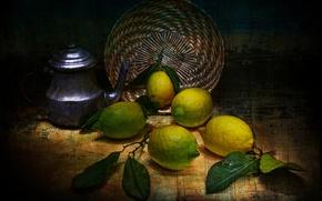 Картинка стиль, чайник, лимоны, винтаж