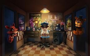 Обои кот, арт, Bonnie, Foxy, Chica, Five Nights at Freddy's, Freddy Fazbear