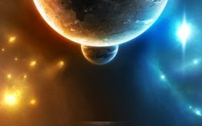 Картинка звезды, планета, спутник, свечение, universe, бесконечность
