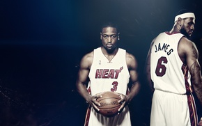 Картинка мяч, баскетбол, nba, heat, Lebron James, Dwyane Wade, spalding, Miami heat