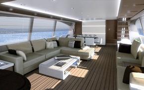 Картинка luxury, salon, motor, yacht Ferretti-870