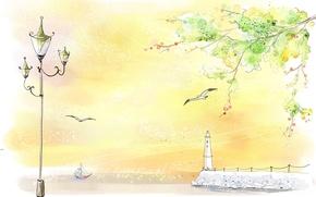 Картинка рисунок, маяк, чайка, фонарь
