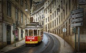 Обои Лиссабон, улица, Португалия, трамвай, город