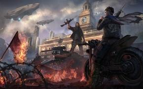 Картинка огонь, арт, мотоцикл, солдаты, революция, восстание, Homefront: The Revolution