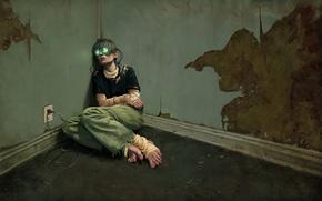 Обои комната, сеть, рисунок, человек, зомби
