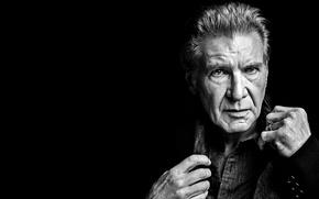 Картинка актер, черный фон, фотомодель, Harrison Ford, Харрисон Форд