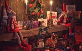 Картинка игрушки, бокал, свечи, мышь, конфеты, венок, шишки, открытки