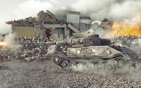 Картинка разрушения, выстрел, Германия, танк, танки, Germany, WoT, Мир танков, tank, World of Tanks, tanks, PzKpfw …
