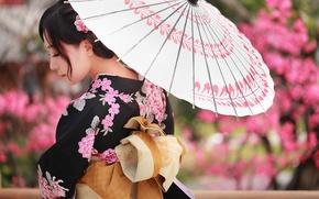 Обои азиатка, лицо, зонтик, кимоно, одежда