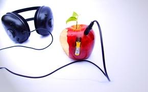 Обои background beatles n apple, яблоко, наушники, плеер