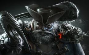 Картинка фон, дым, трубка, шляпа, пират, ворон, крюк