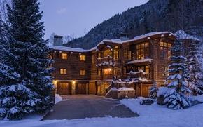 Картинка зима, лес, деревья, дом, house, home, вечер., загородный, деревьянный
