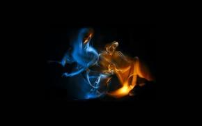 Обои двое, дым, она, огонь