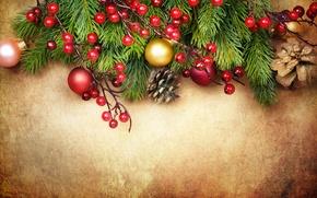Картинка украшения, ягоды, шары, елка, Christmas, decoration, xmas, Merry, Рождество. Новый Год