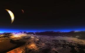 Картинка небо, ночь, луна, пустыня, планета, спутник